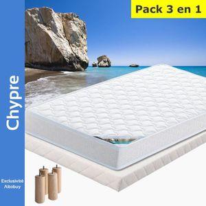 ENSEMBLE LITERIE Chypre - Pack Matelas + Tapissier 140x190 + Pieds