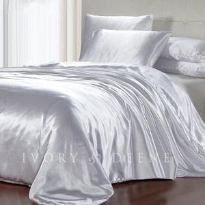 Parure de lit satin 6 pcs gris argent lit 180 cm achat - Housse de couette lit 180x200 ...