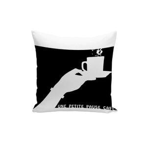 HOUSSE DE COUSSIN Housse de Coussin Une Petite Pause Café Tasse Noir