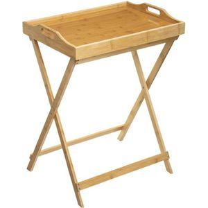 PLAT DE SERVICE Table d'appoint pliante en bambou avec plateau amo