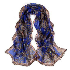 902c8a92111 Femmes Retro mousseline mode Foulard imprime Bleu - Achat   Vente ...