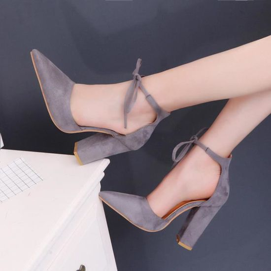 Sandales pour femmes Chaussures d'été Femmes Dames Pompes Sexy Chaussures à talons hauts@Gris Gris Gris - Achat / Vente escarpin