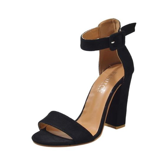 Mesdames Block Cheville Party Femmes Boucle Bracelet Black Singel Chaussures Escarpin Sandales xdCBeo