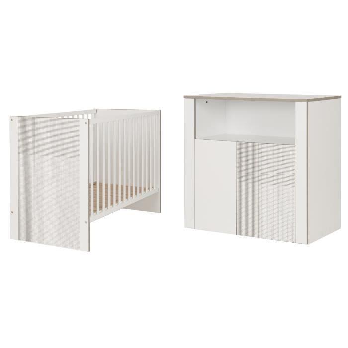 GALIPETTE CARDIFF Meubles Chambre bébé : Lit 60 x 120 cm - Commode 2 portes 1 niche et plan à langer droit