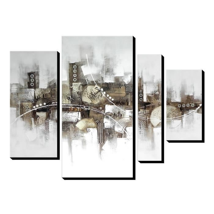 Assez 4pcs AONBAT Tableaux de peinture à l'huile Toile Peint à la Main  YW39
