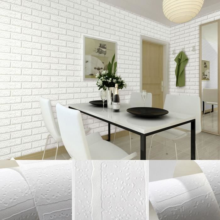 53*10M Papier Peint Motif Brique 3D White Texture Non Tissé Wallpaper  Revêtements Muraux Rustique