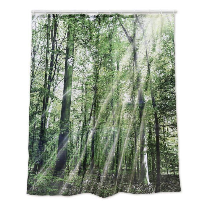 Rideau de douche for t multicolore imprim en 100 polyester 180x180 cm achat vente - Rideau de douche 180x180 ...