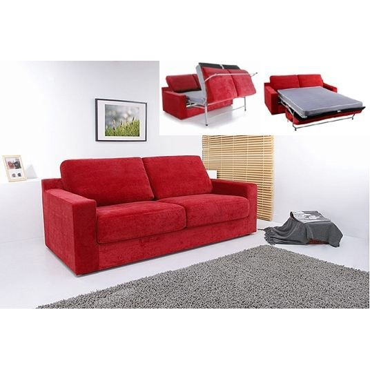 Canape convertible modulo microfibre rouge achat vente for Canap2 d4angle convertible