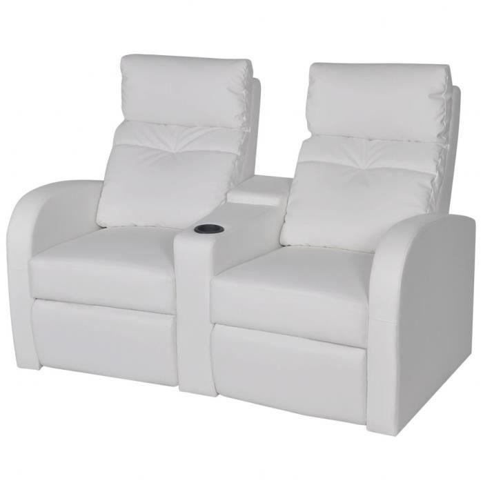 Canapé inclinable 2 places moderne en cuir artificiel avec Dossier réglable  et repose-pieds étendu Blanc Cinéma maison bureau Salon