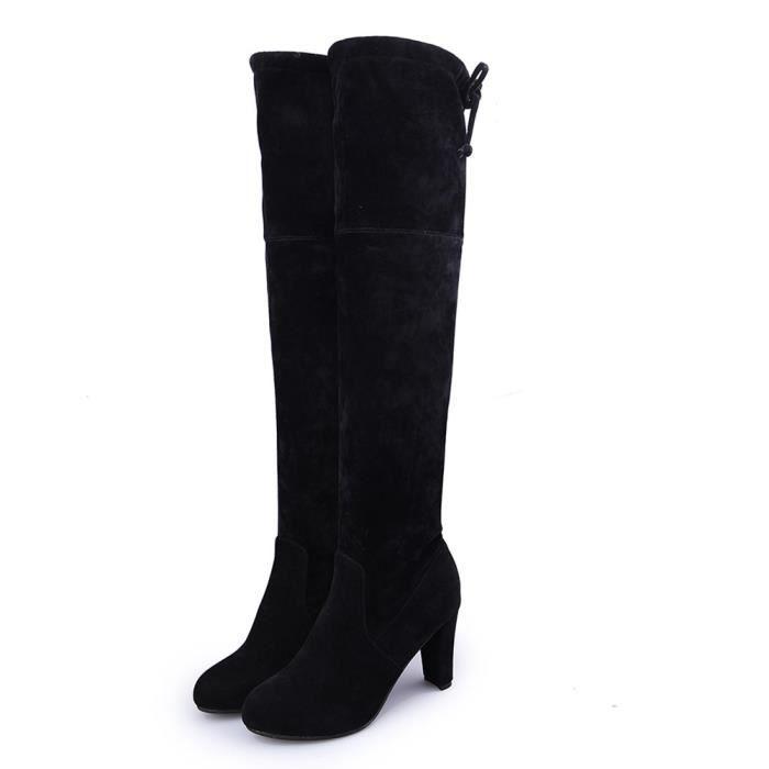 36-39 Femmes stretch Faux Slim Bottes Élevé Plus Cuissardes Talons hauts Chaussures bAt9LPl