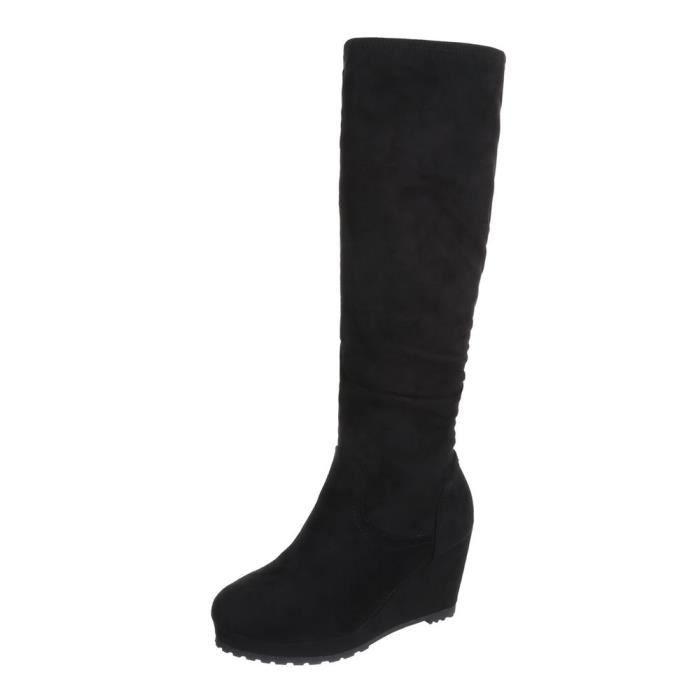 Chaussures femme bottes Talon compensé Plateau noir 41