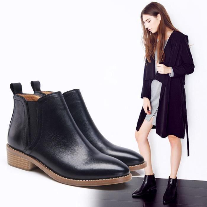 chaussures de mode nouvelles dames bottes locomotive britannique Martin chaussures bottes imperméables,marron,38