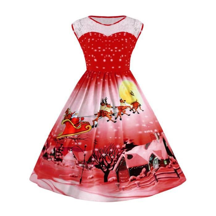 Taille Gioie des femmes Illusion cou manches robe de Christmas Swing 2CVHTP Taille-42
