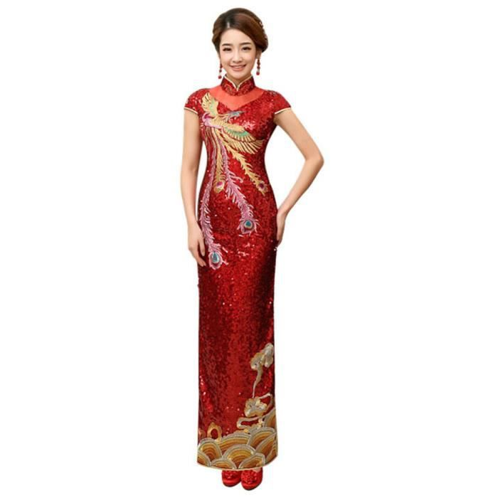 21132932200 Robe Traditionnelle Chinois Cheongsam Costume de fête Qipao Longue Rouge S
