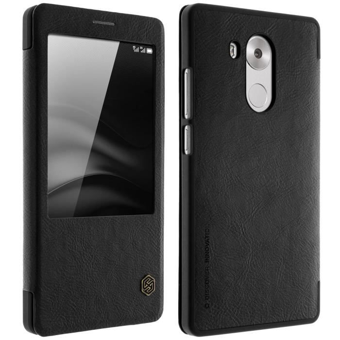 Housse folio cuir fen tre huawei mate 8 noir for Housse huawei mate 10 pro