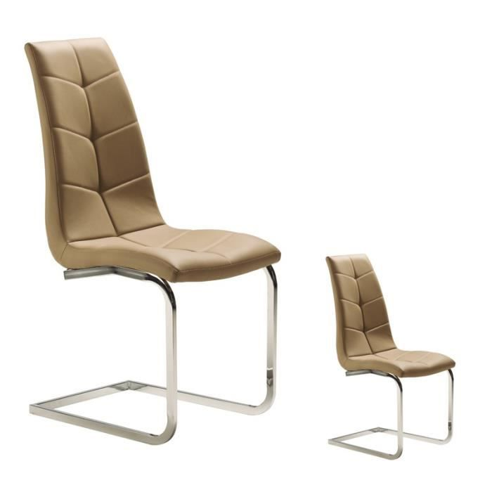 CHAISE Duo De Chaises Simili Cuir Taupe
