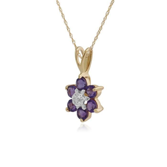 gemondo Am�thyste Collier, 9 Ct Or Jaune 0.39CT CT AM�THYSTE & Diamant floral Pendentif sur 45cm cha�ne
