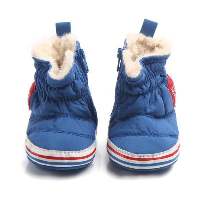 BOTTE Automne Hiver Nourrisson Bébé Garçon Semelle Souple Premier Walker Crib Chaussures Bottes de neige@Gris 3k2YtDMW