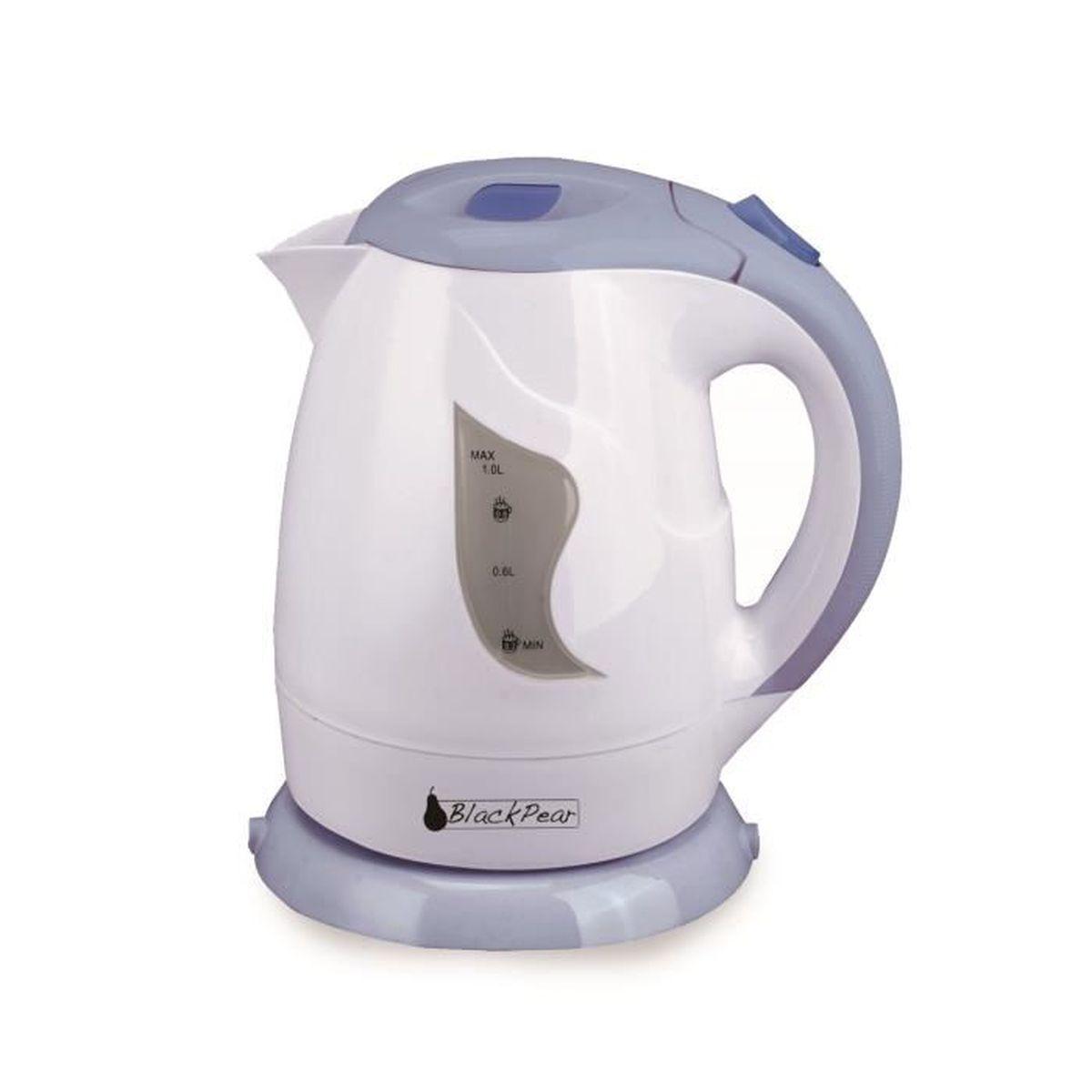 bouilloire blanc-bleu 900w capacité 1l avec filtre anti-calcaire