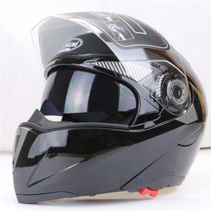 CASQUE MOTO SCOOTER Brillante noir M-XXL casques de moto anti-poussièr