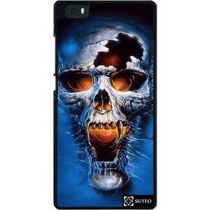 COQUE - BUMPER Coque Huawei Ascend P8 Lite - Tête de mort bleue -