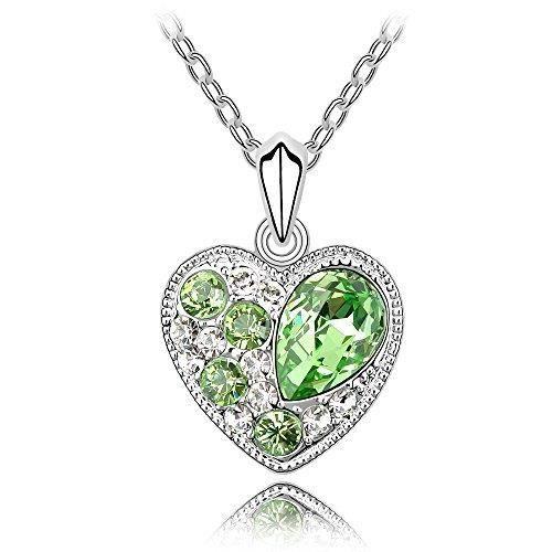 Womens Swarovski Crystals & Preciosa Rhinestones Diamond Heart-love-valentine Pendant Necklace. Da DLQTE