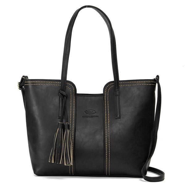 SBBKO4547Femmes rétro gland sacs fourre-tout dames sacs à bandoulière occasionnels Crossbody Noir