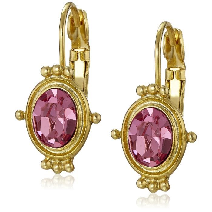 1928 Jewelry Gold-tone Rose Pink Oval Drop Earrings G81YS