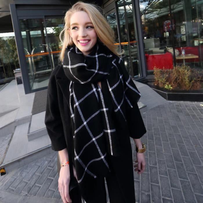d82f7d4bd755 Echarpe noir et blanc avec carreaux Longue Souple Nouvelle mode automne  hiver pour femme fille