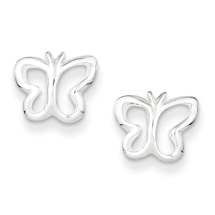 Argent Sterling Post-Boucles doreilles en forme de Papillon