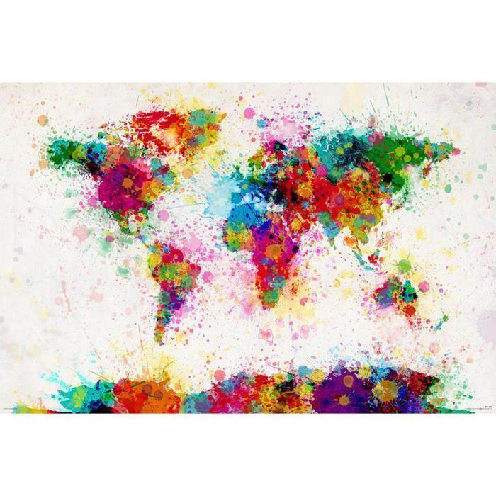 Poster de la carte du monde peint. Michael Tompsett   Achat