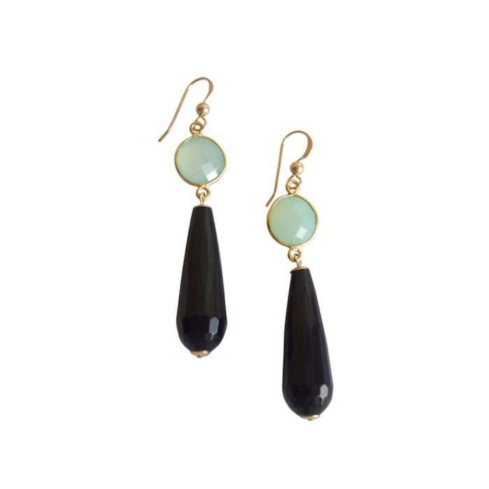 Gemshine - Dames - Boucles doreilles - Or - Onyx - Chalcédoine - Noir - Green Sea - PARTY DROPS - 5 cm
