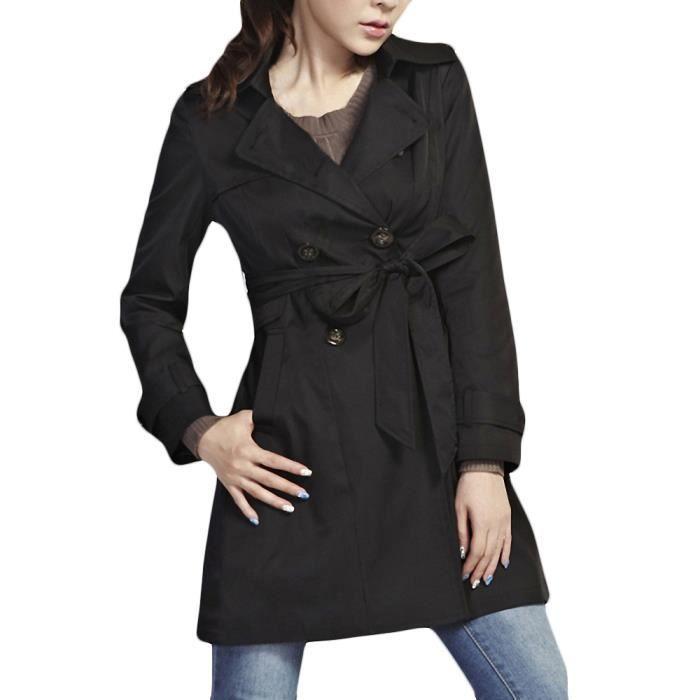 Femme Trench Coat Manteau Jacket avec Ceinture ... Noir - Achat ... 39671a1e1480