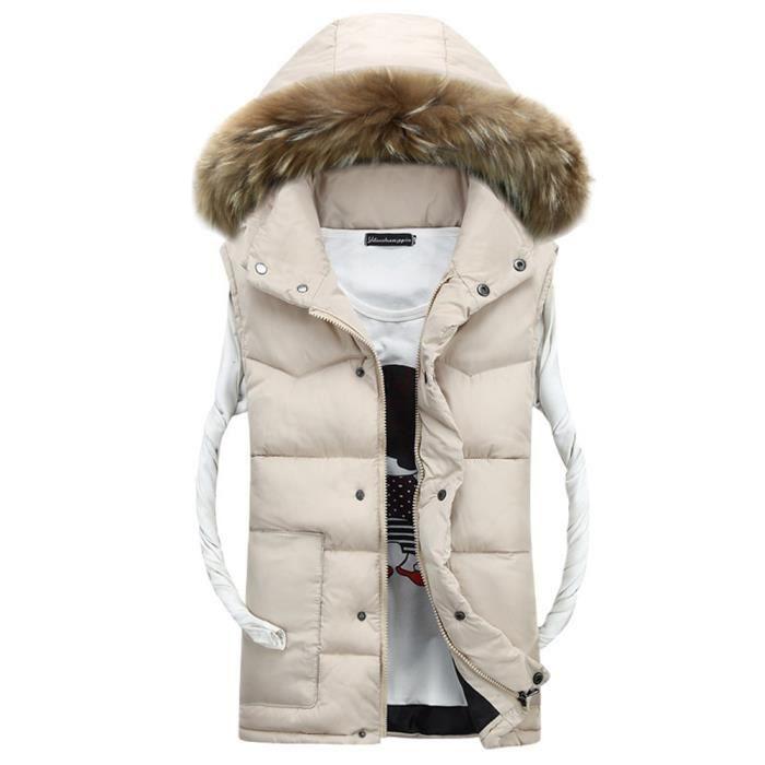 Doudoune sans manches Beige homme hiver à capuche slim col en fausse  fourrure de epaississant Vêtement Masculin d3f6309830b