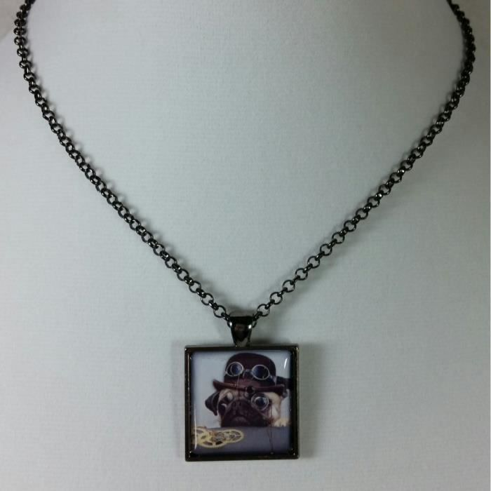 Womens Steampunk Pendant Sneaky Dog Adjustable Necklace 16 To 20 Inch J50OM