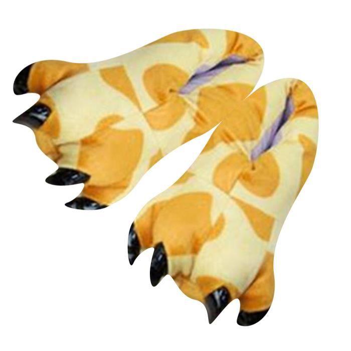Chausson Pantoufle Animal Monstre Dinosaure Hiver Peluche Pantoufle BTYS-XZ004Rouge-41 BVRJMfR