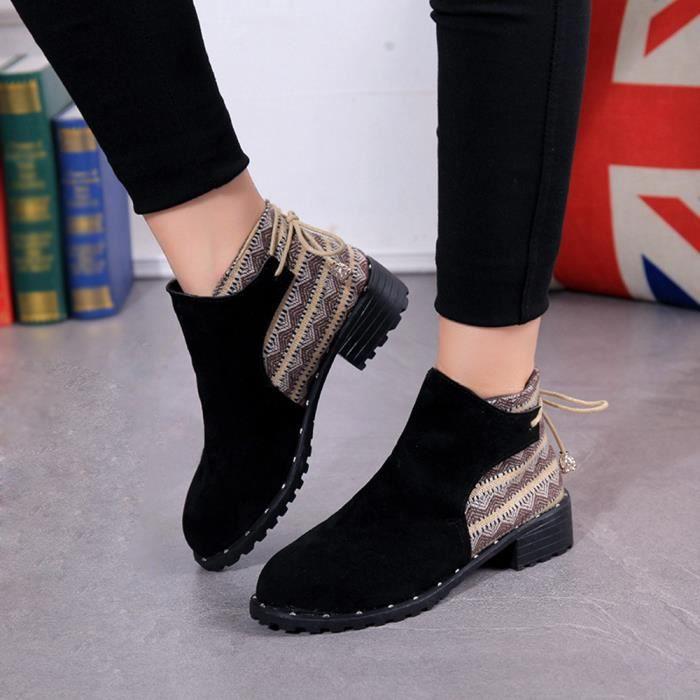 Casual Martin Noir Moyen Bottes Zipper Chaussures Wedges Femmes Flcok Tube Bas xHPgUwq