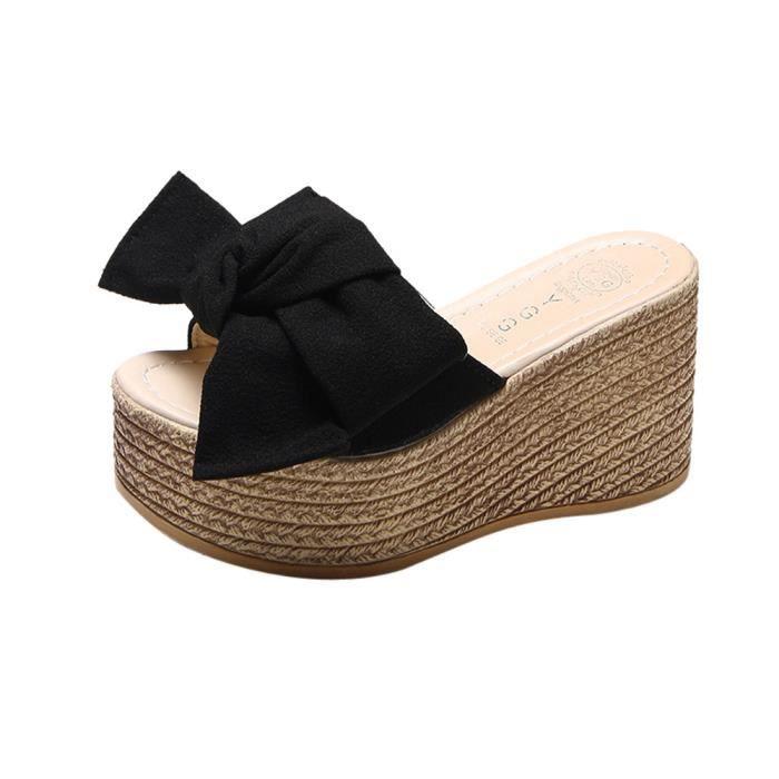 Noir Compensées Épais Massif Plate Féminine Chaussures Chausson À Sandales Fond Mode Plateforme qIEPRBwgB