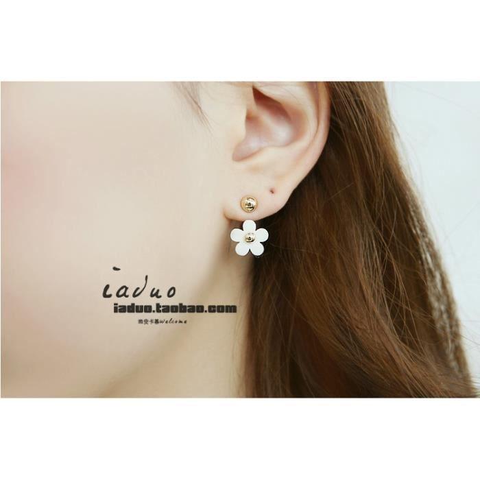 Bijoux mode 2018439 boucle doreille mignon petit rivet marguerite aiguille oreille fleur noir et blancblanc