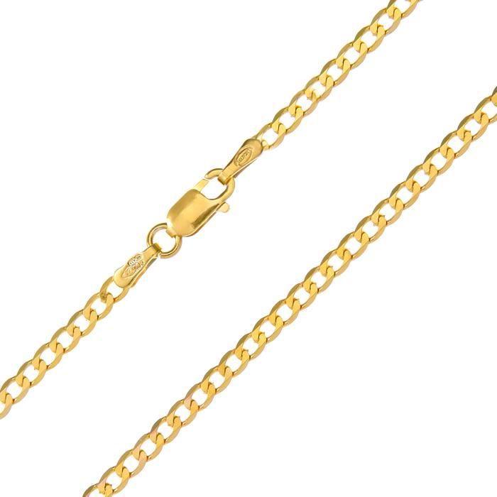 Revoni - Bracelet à chaîne courbée en or jaune 9 carat 1,3 g, longueur 19 cm et largeur 2,3 mm.