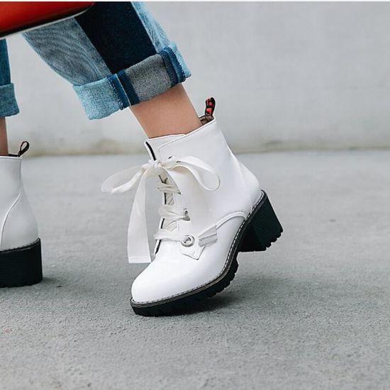 Lansman@Chaussures à bout rond de place la femme Anti-Slip Croix-Tied place de talon Bottes en cuir EM29153 Blanc Blanc - Achat / Vente slip-on 090ef2