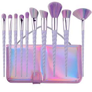 PINCEAUX DE MAQUILLAGE 10pcs Pinceau de Maquillage de Licorne Brosses Pin