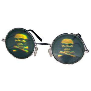 23f89b7a99 MASQUE - DÉCOR VISAGE Lunettes métal rondes avec hologramme tête de mort