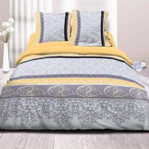 housse de couette jaune 240x260 achat vente housse de. Black Bedroom Furniture Sets. Home Design Ideas