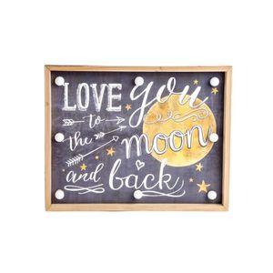 TABLEAU - TOILE LOVE Tableau déco led en bois - 30 x 24 x 4 cm