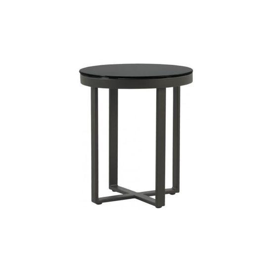 Table basse ronde aluminium gris plateau verre trempé noir Ø45 ...