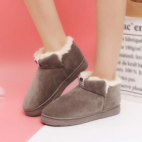 Tube court de femmes plus Chaussures en coton velours Casual Bottes Bottes de neige Bare étudiants qinhig2880 Marron Marron - Achat / Vente botte