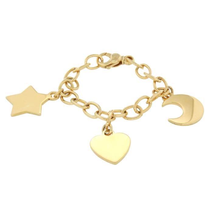 Fine Necklace Bracelet Anklet 9 Carats 375-1000 Plaqué Or 19 Centimeters AK4RE