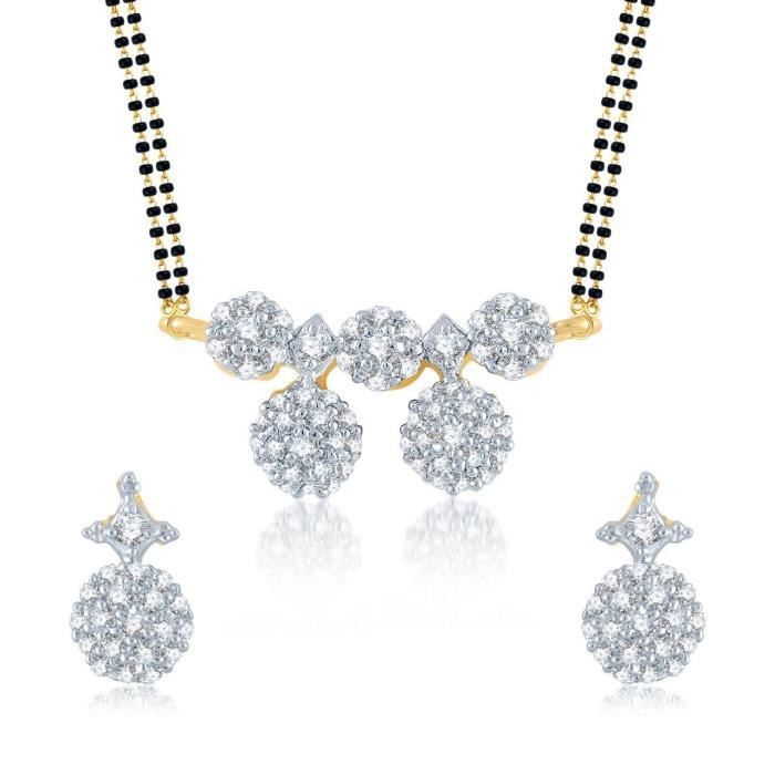 Womens galsutra Pendant Set With Earrings For Jewellery Set Gold Plated In Cz American Diamond Ms B57TS