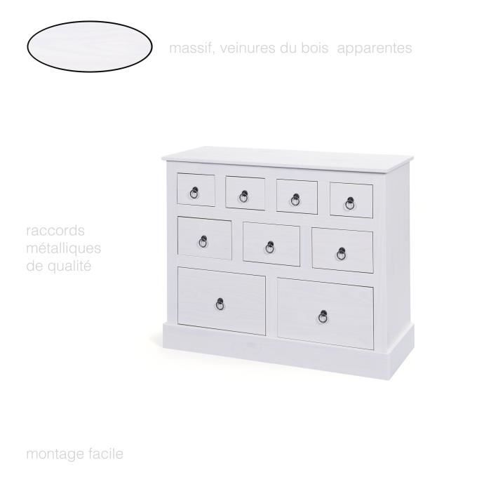 Grande Commode 9 Tiroirs Commode En Pin Massif Commode Chambre
